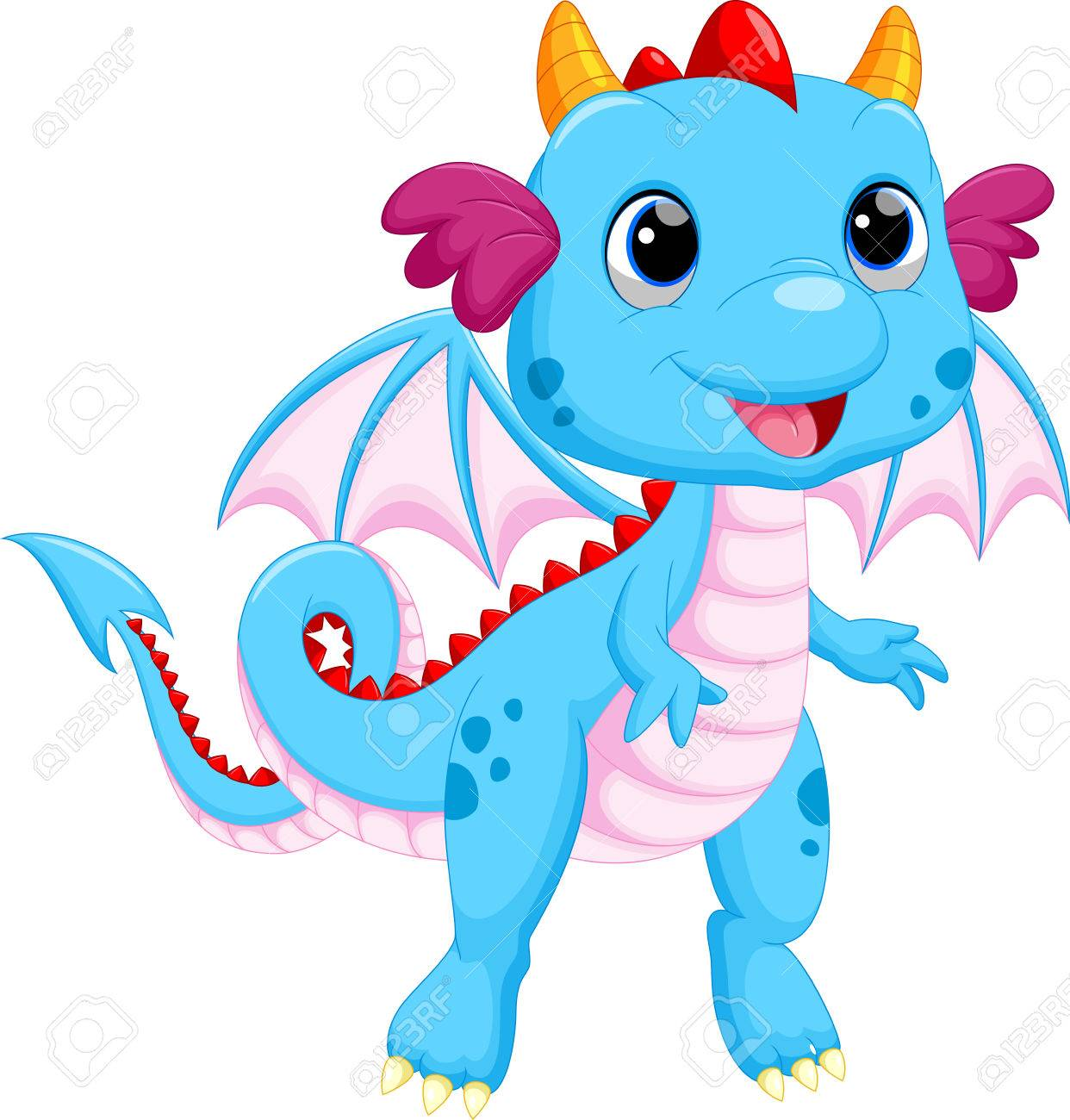 Cute baby dragon cartoon - 44958677