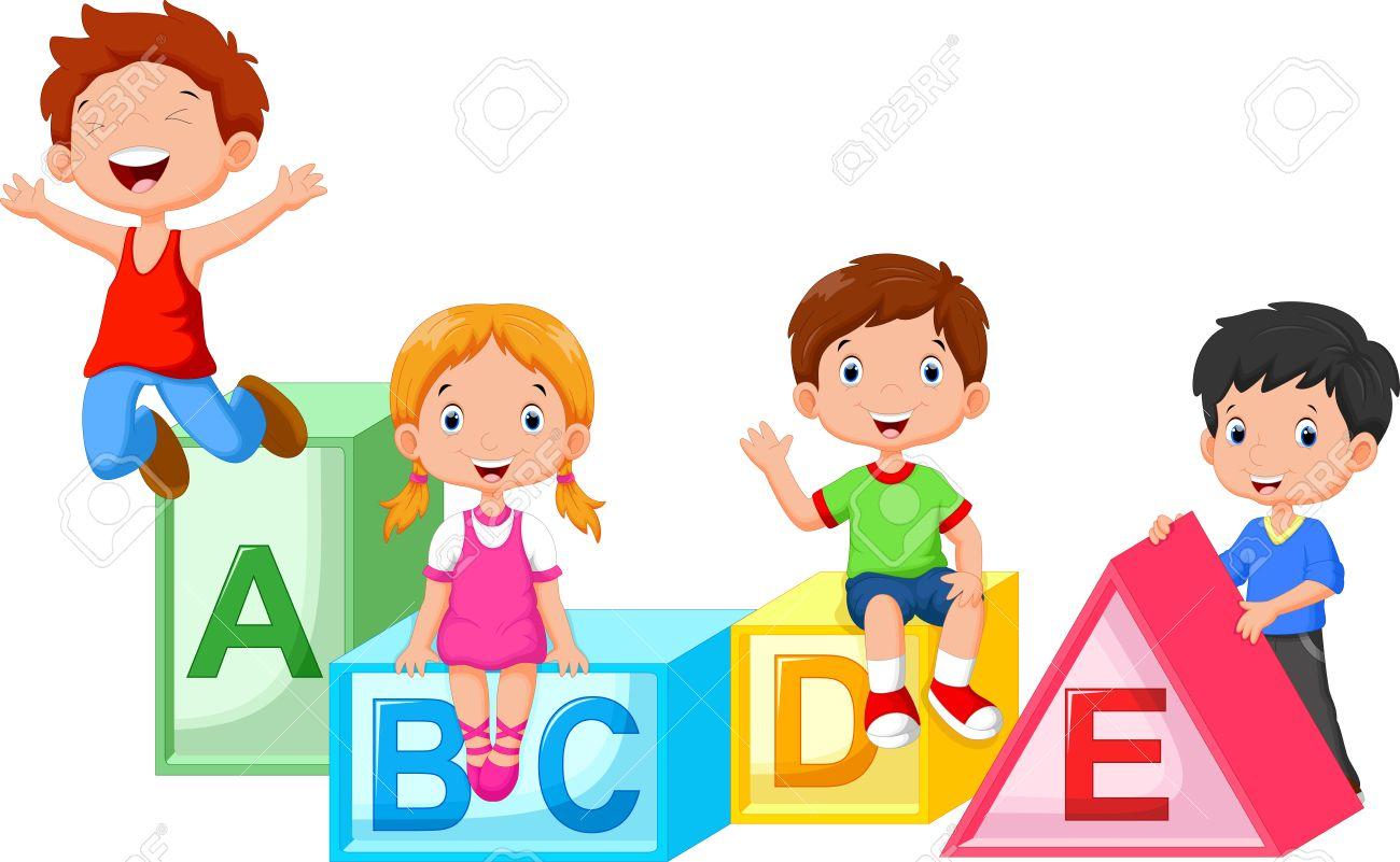 Happy school children playing with alphabet blocks - 47538194