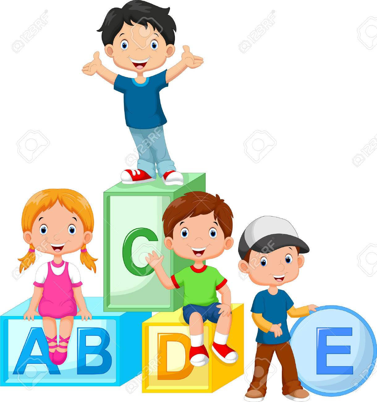 Happy school children playing with alphabet blocks - 47538199