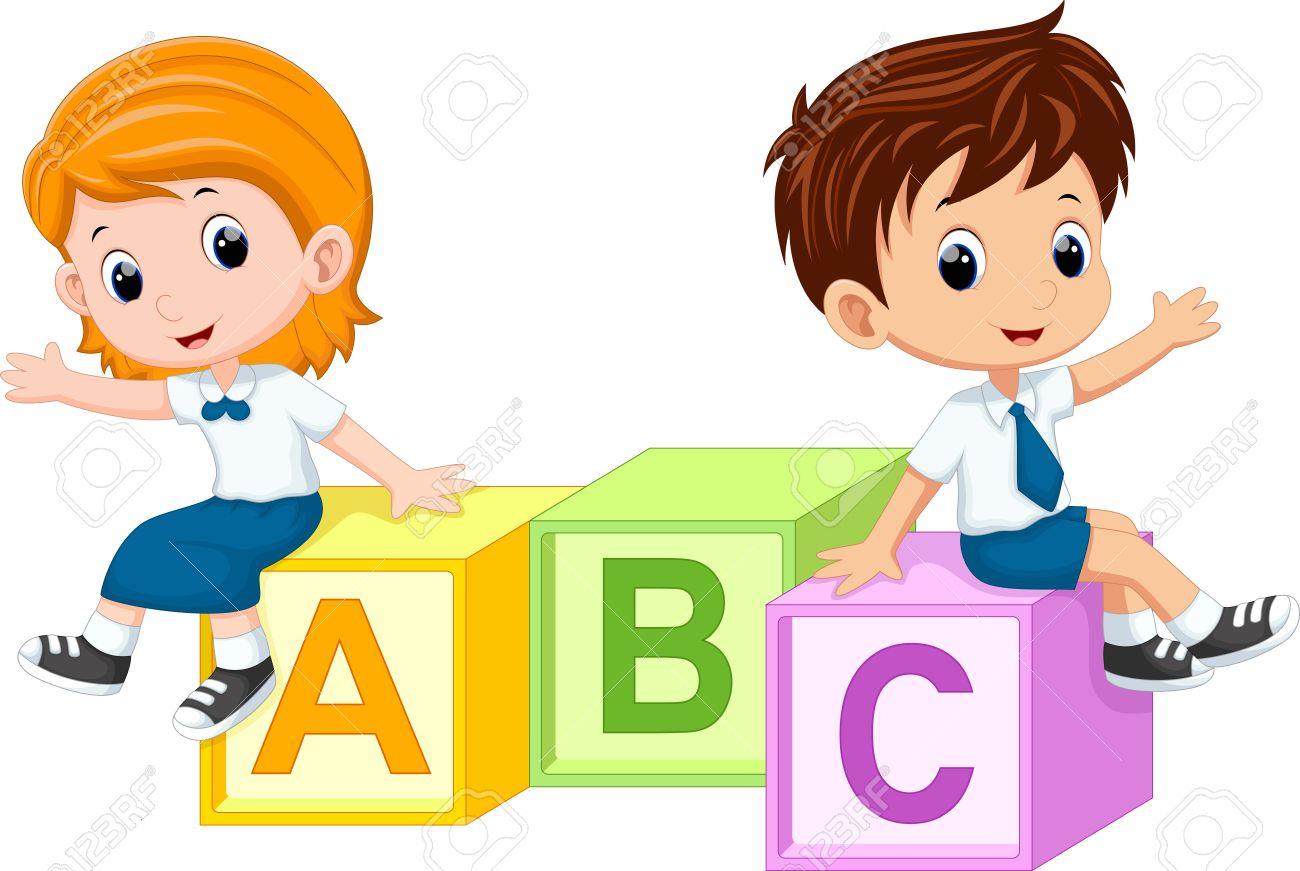Two students sitting on the alphabet blocks - 47538203