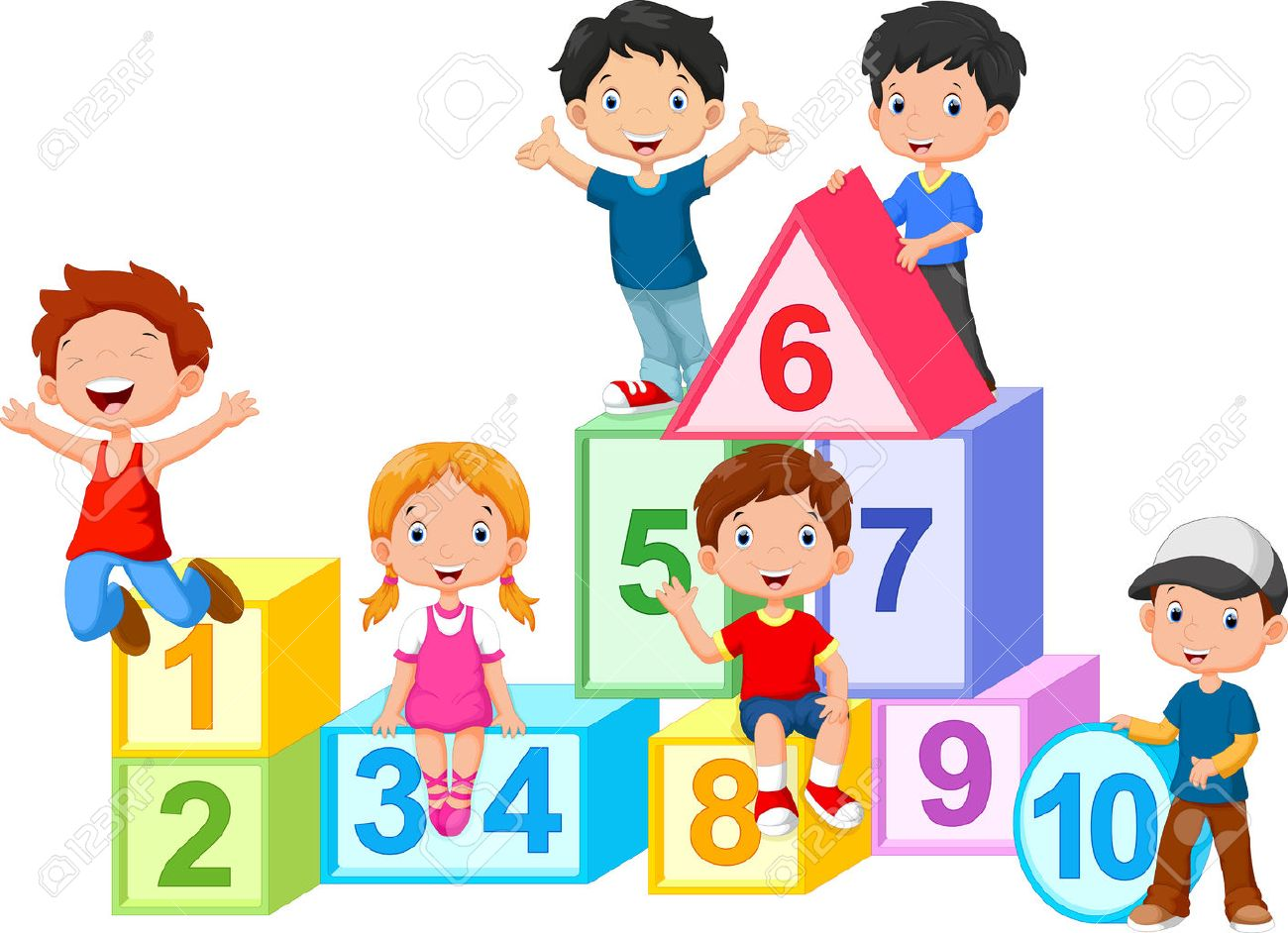 Happy Kids With Numbers Blocks Royalty Free Cliparts, Vectors, And ...
