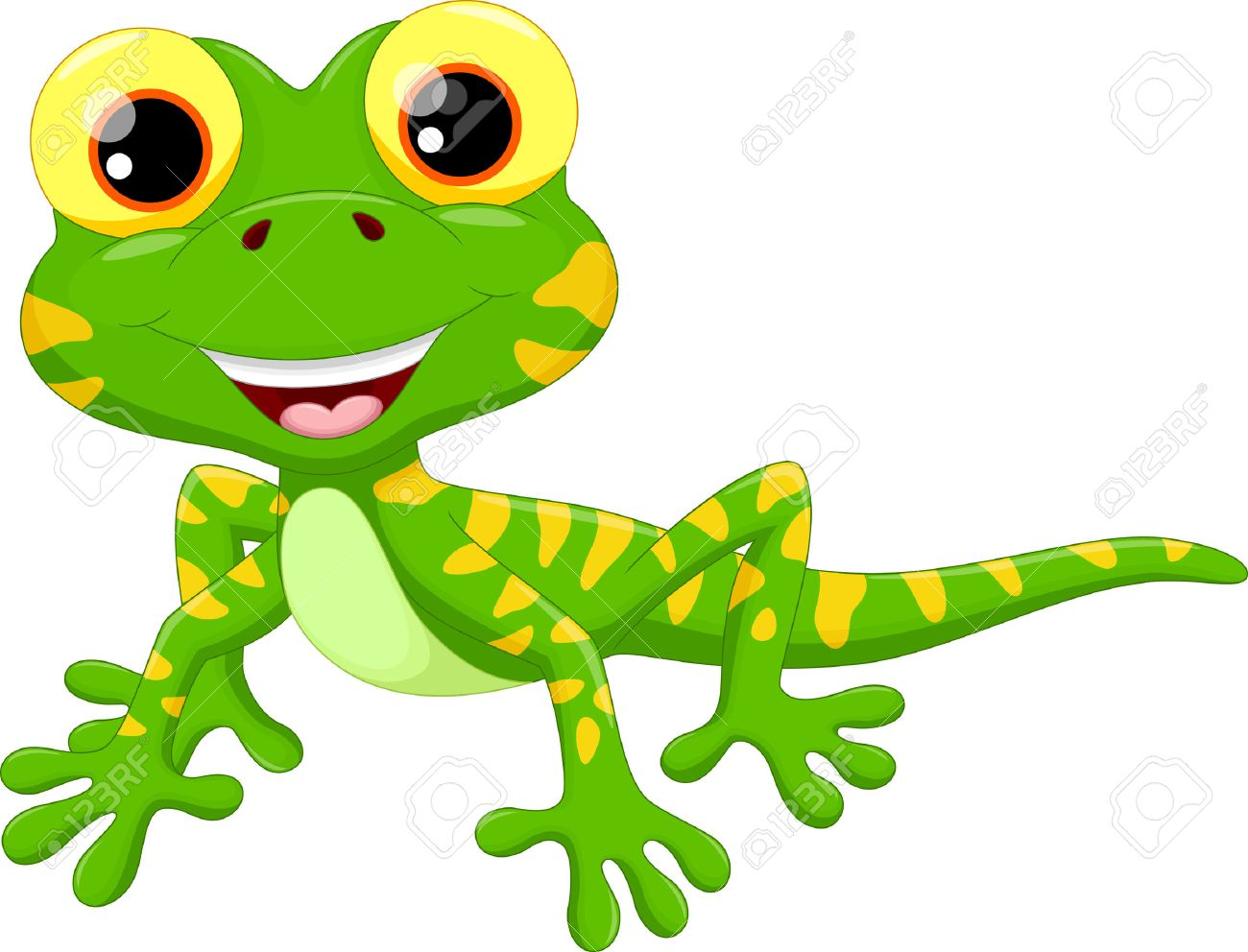 Vector illustration of cute lizard cartoon isolated on white background - 48070237
