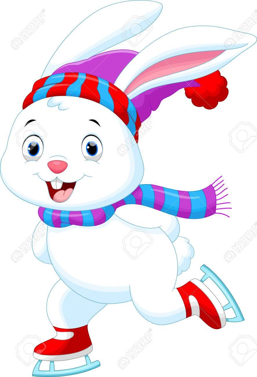 Illustration of funny rabbit on ice skates - 48070756