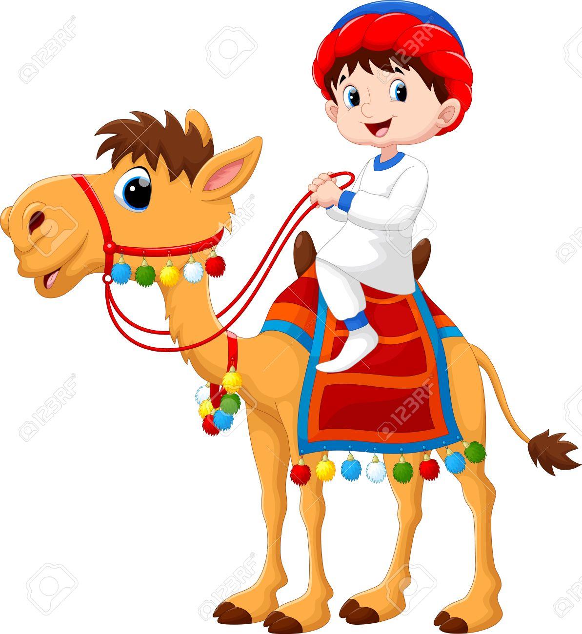 Illustration of Arab boy riding a camel - 48779727