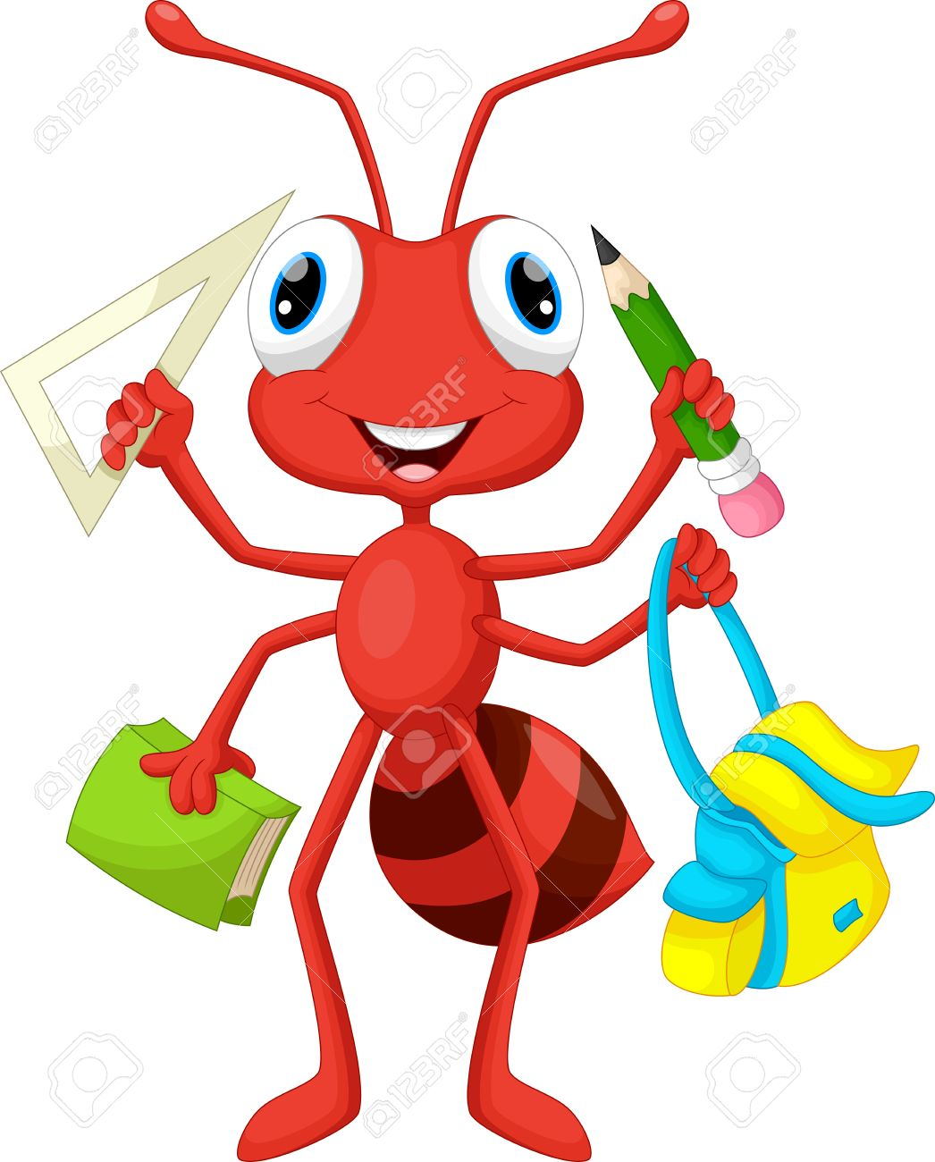 Ant with school supplies - 49256147