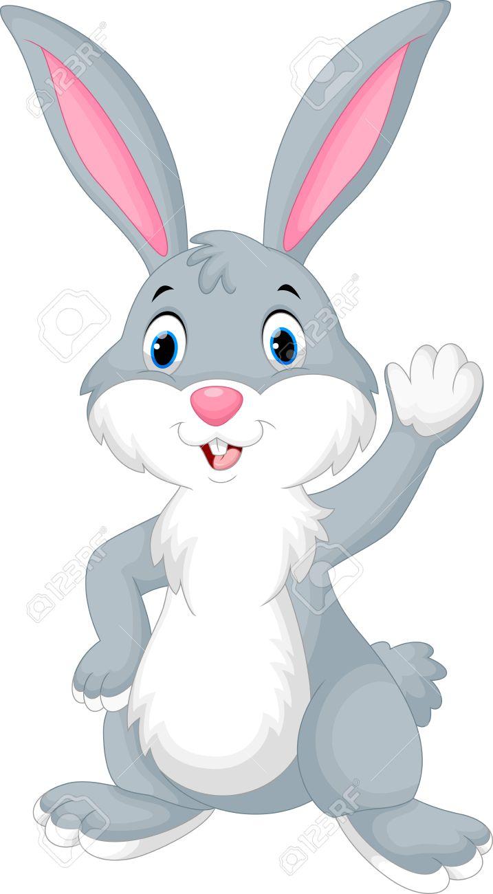 Rabbit cartoon waving hand - 49256274