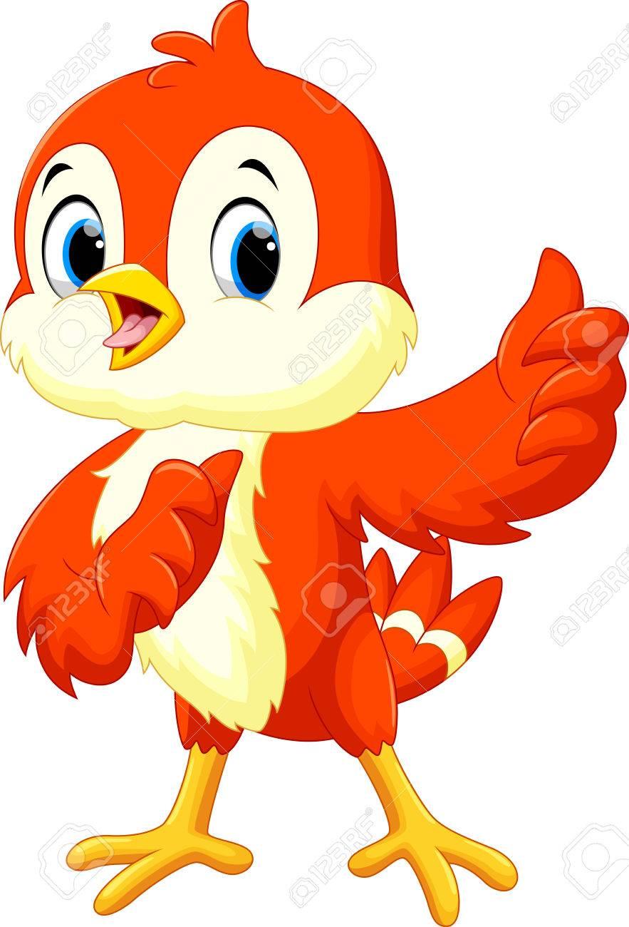 Cute bird cartoon thumb up - 51794290