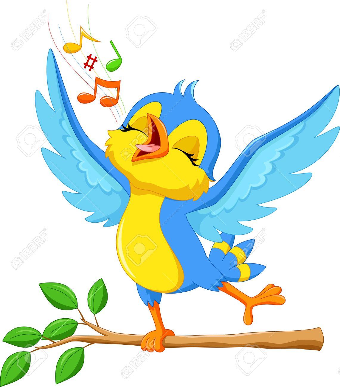 illustration of cute bird singing - 52210780