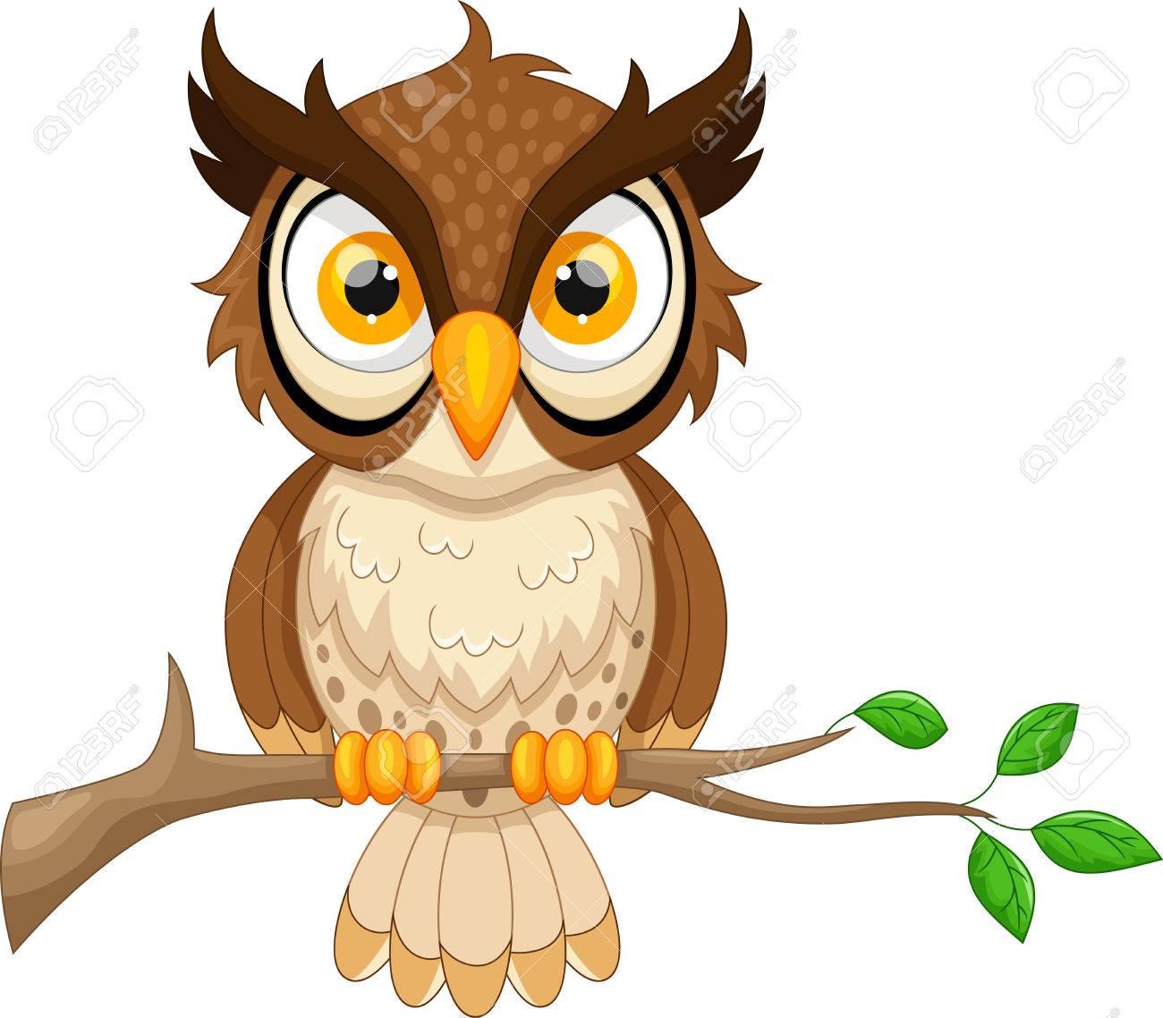 Cartoon owl sitting on tree branch - 52404091