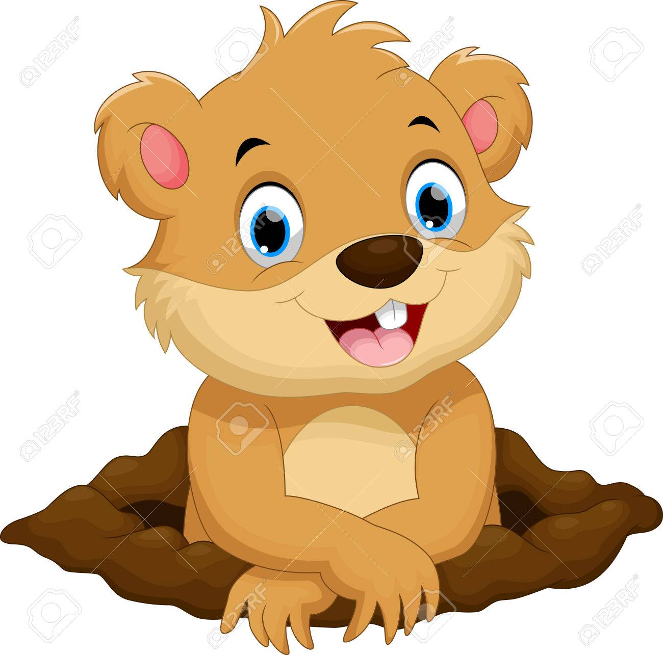 cute groundhog cartoon royalty free cliparts vectors and stock rh 123rf com clipart groundhog day clipart groundhog day