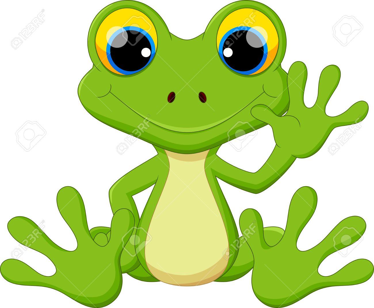 Cute frog cartoon sitting - 55360481