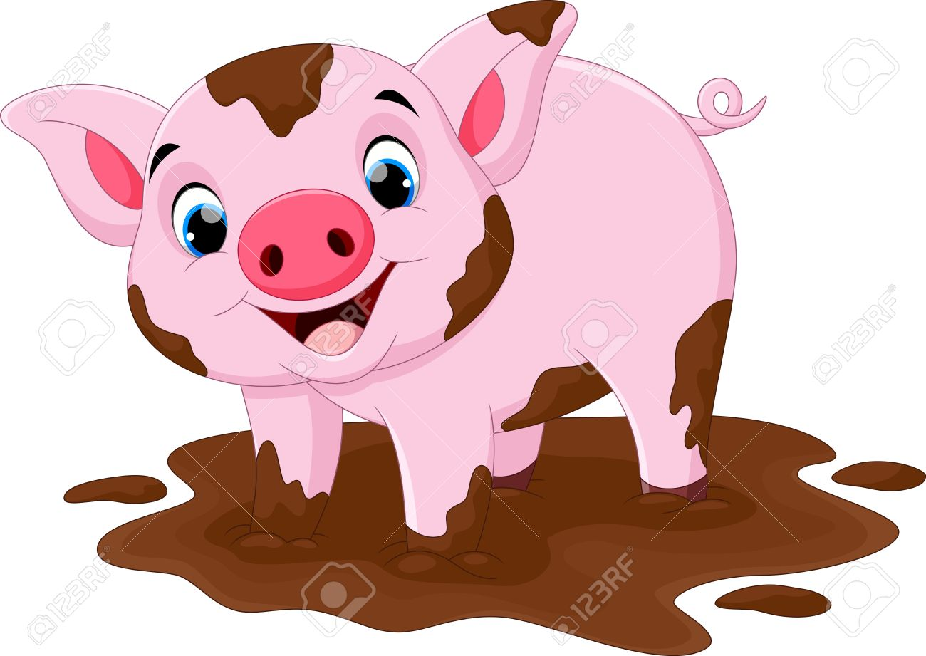 cartoon pig play in a mud puddle royalty free cliparts vectors and