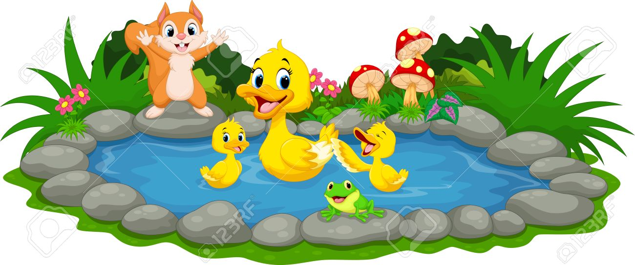 mother duck and little ducklings swimming in the pond royalty free rh 123rf com Pond Cxlipart Pond Cxlipart