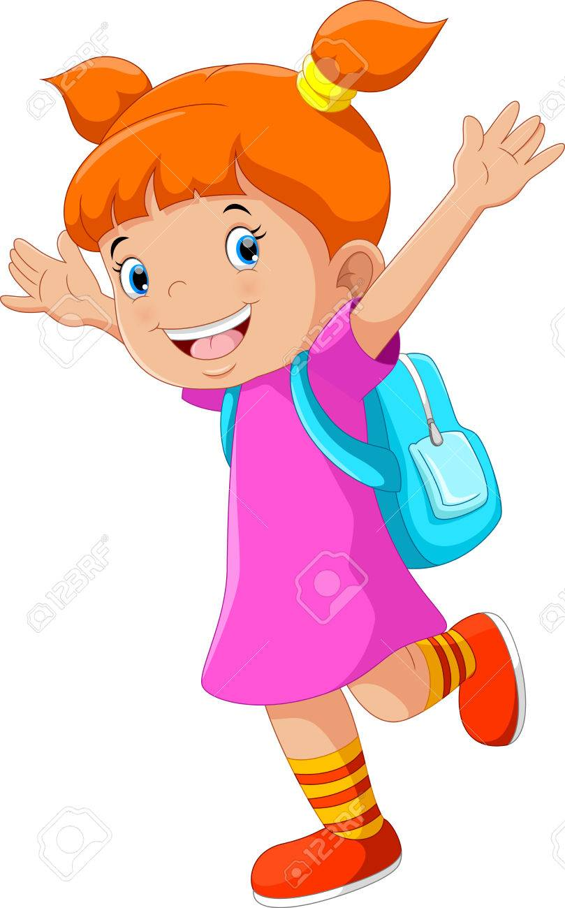 Vector illustration of happy little girl with a backpack going to school - 70900642