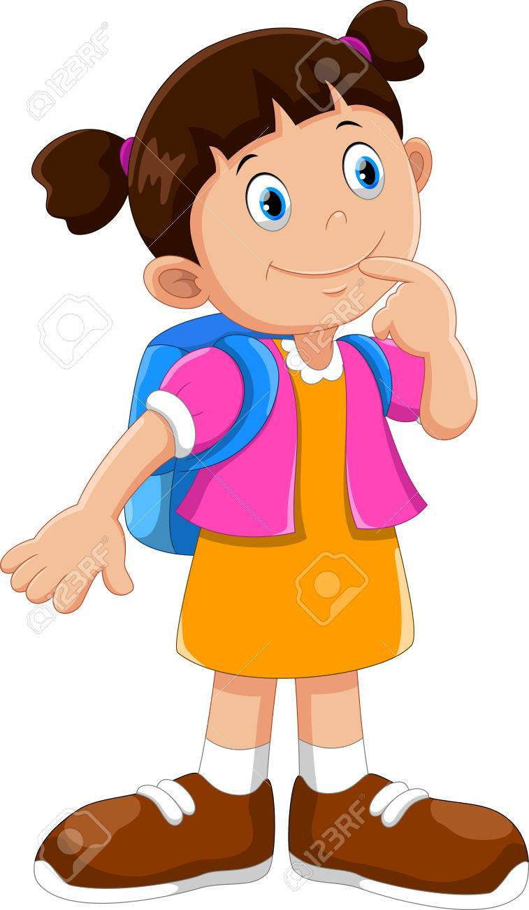 Vector illustration of cute school girl cartoon with backpack Stock Vector  - 78824746 98c9469db2bd0