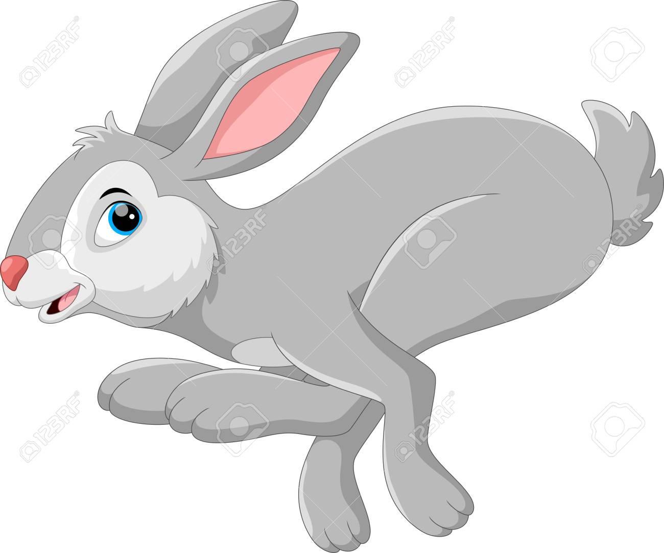 Cute cartoon rabbit running - 79937216
