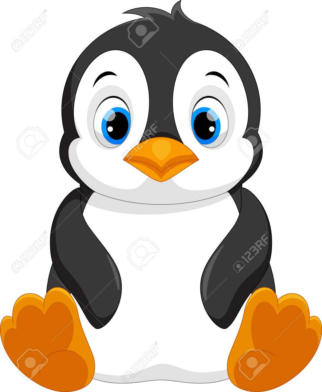 Cute Baby Penguin Cartoon Sitting Royalty Free Cliparts Vectors And Stock Illustration Image 90374388