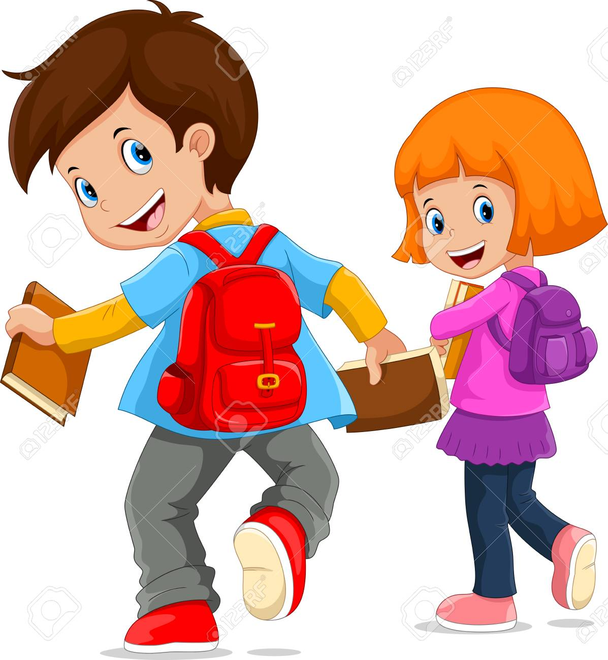 Back To School. Vector Illustration Of Cartoon Kids Going To.. Royalty Free  Cliparts, Vectors, And Stock Illustration. Image 94897246.