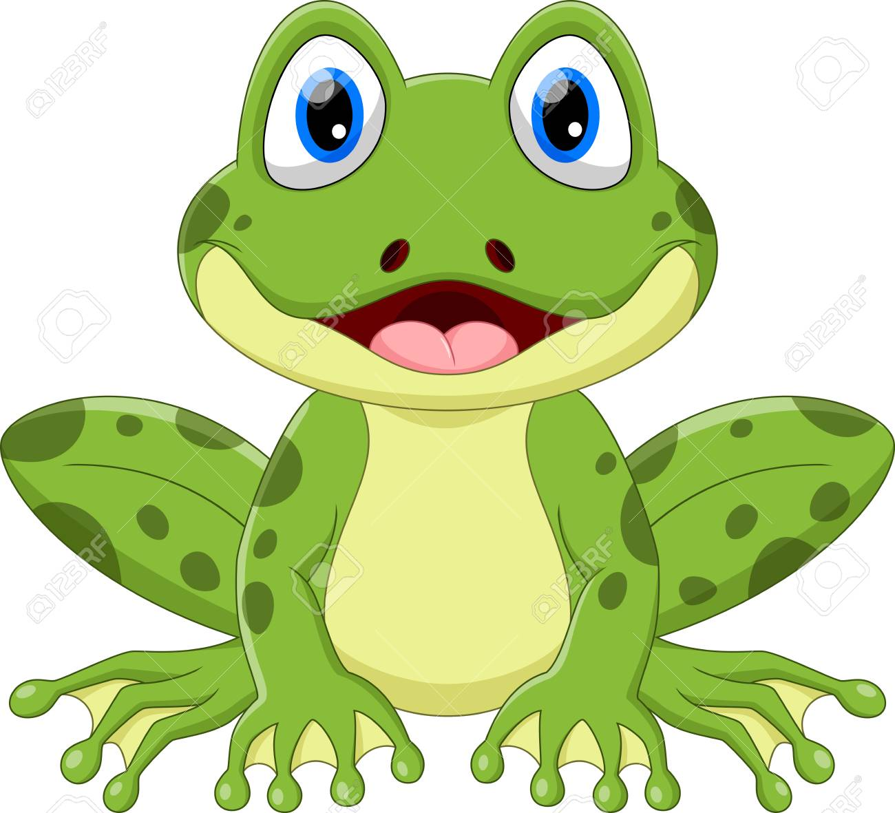 Vector illustration of cute frog cartoon isolated on white background. - 100122787