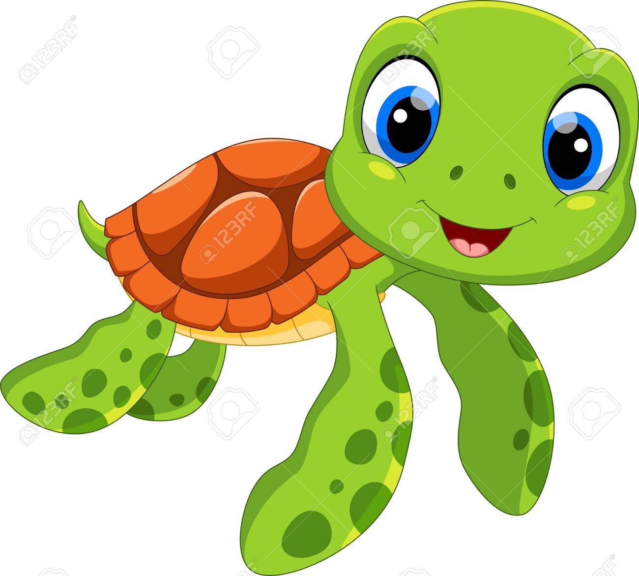Cute Sea Turtle Cartoon Isolated On White Background Royalty Free ...