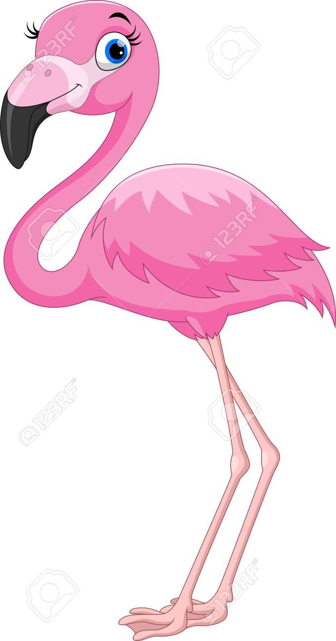 Cartoon pink flamingo bird - 104461035