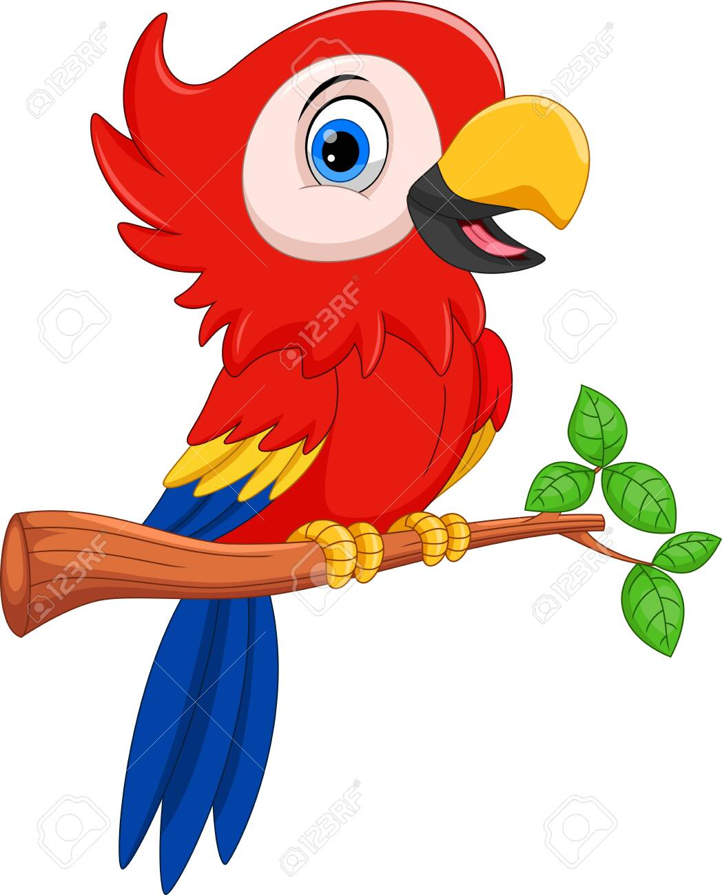 Vector illustration of Cartoon parrot on tree branch isolated on white background - 123744197