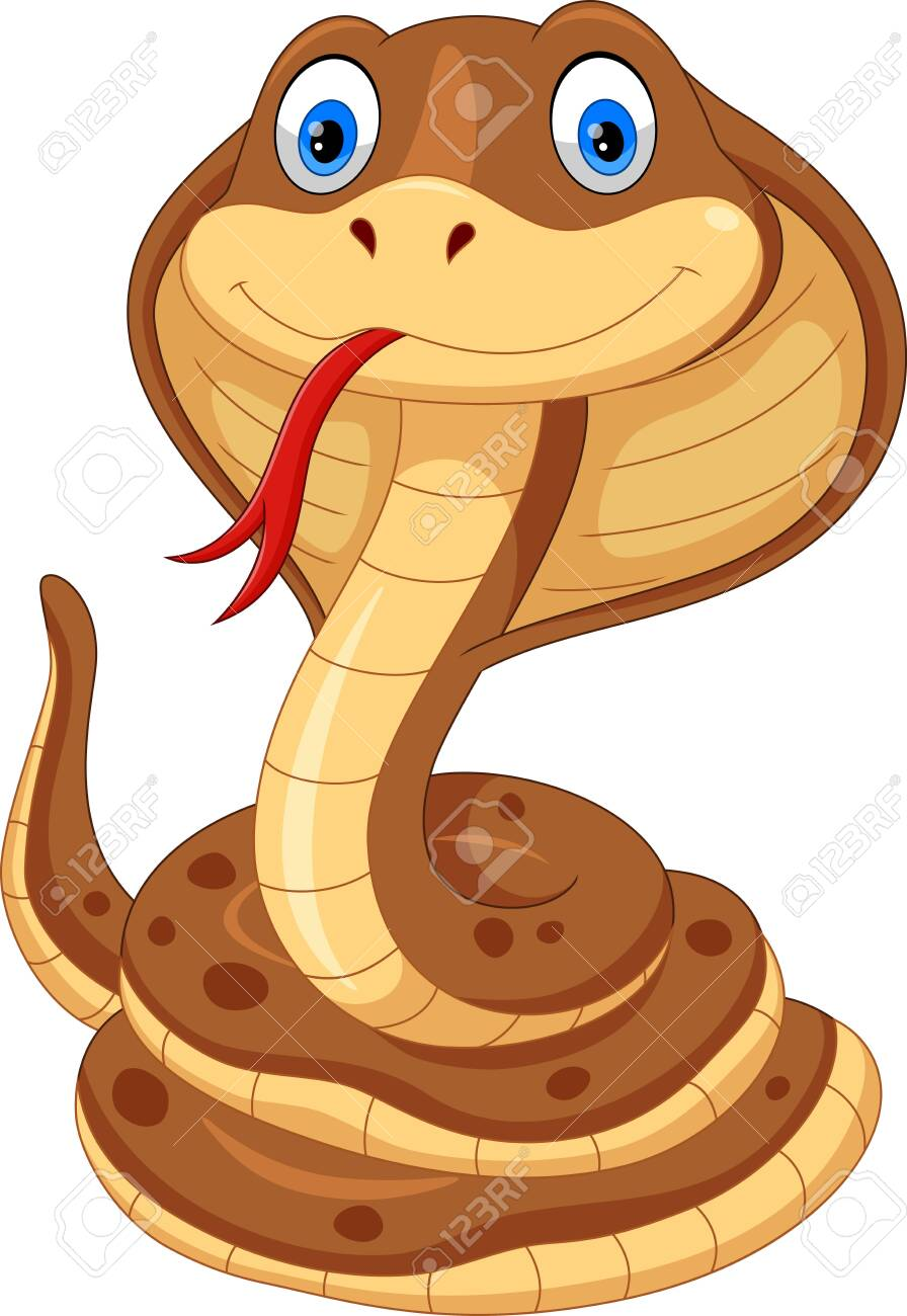 Vector illustration of cobra cartoon is cute and adorable isolated on white background - 123744199