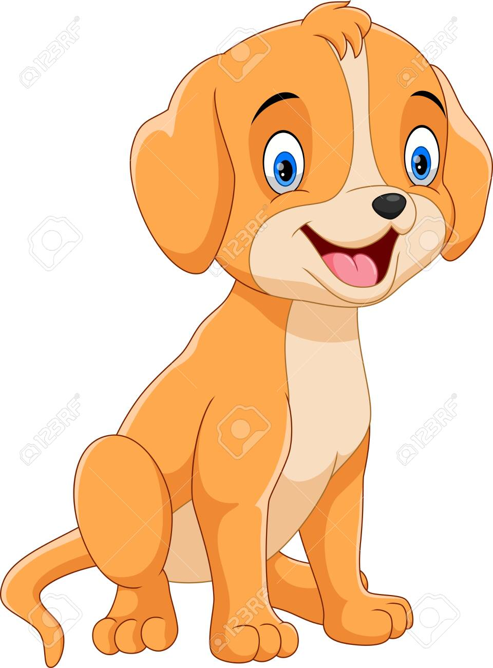 Vector illustration of cute and adorable dog cartoon isolated on white background - 123744208