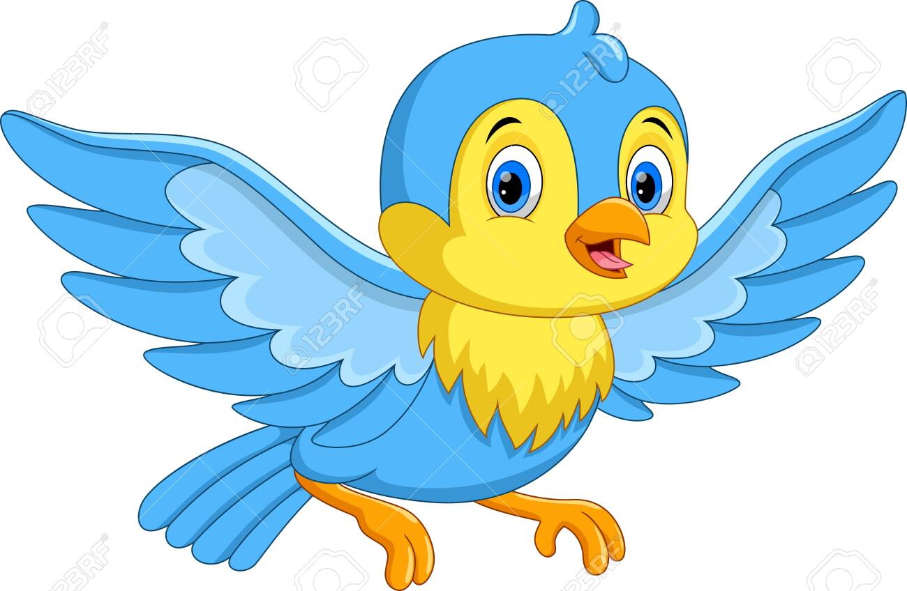 Vector illustration of cute cartoon little bird flying isolated on white background - 123744255