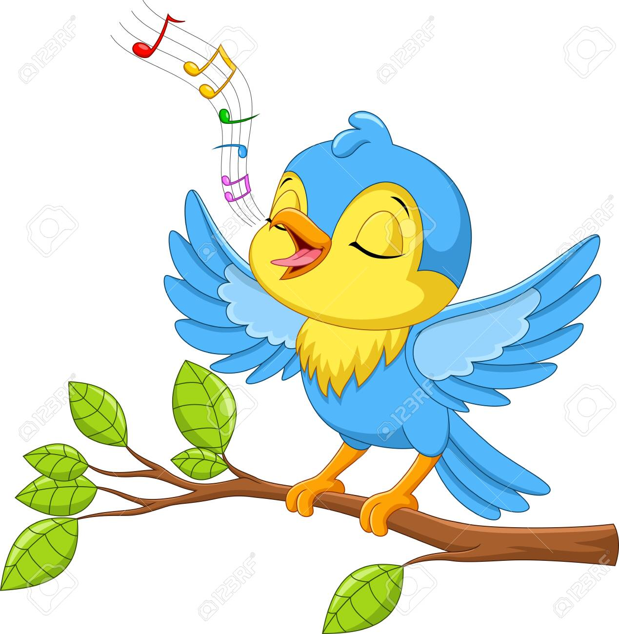 Vector illustration of Cute little bird sings on a tree branch isolated on white background - 123744257