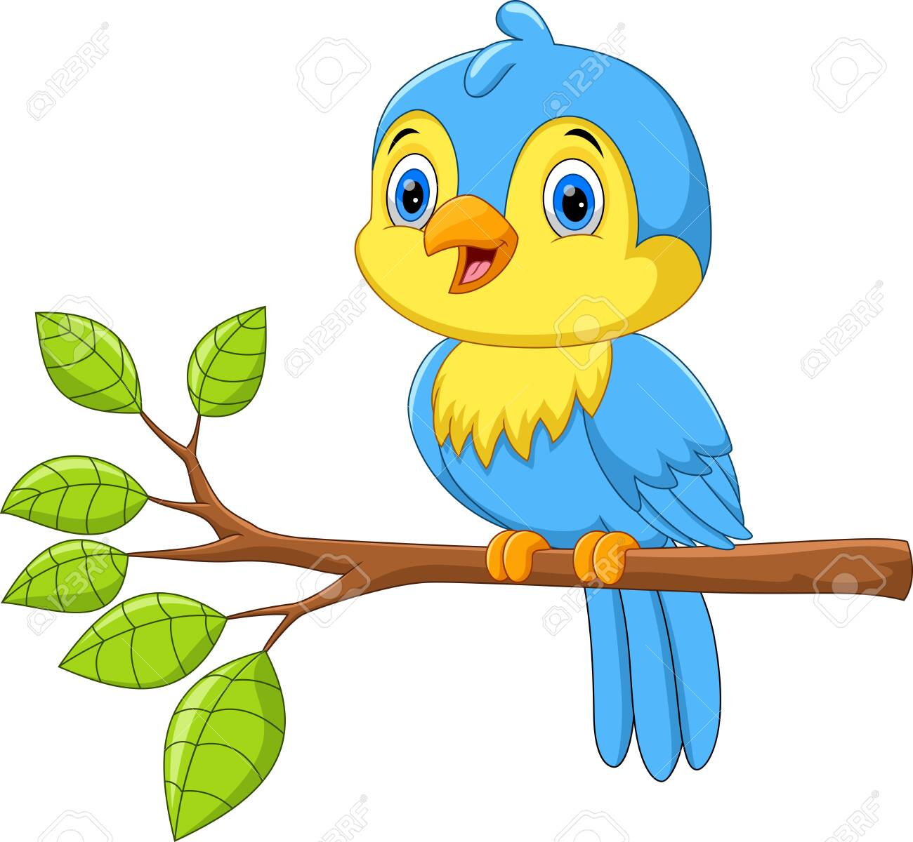 Vector illustration of Cute little bird on a tree branch isolated on white background - 123744258