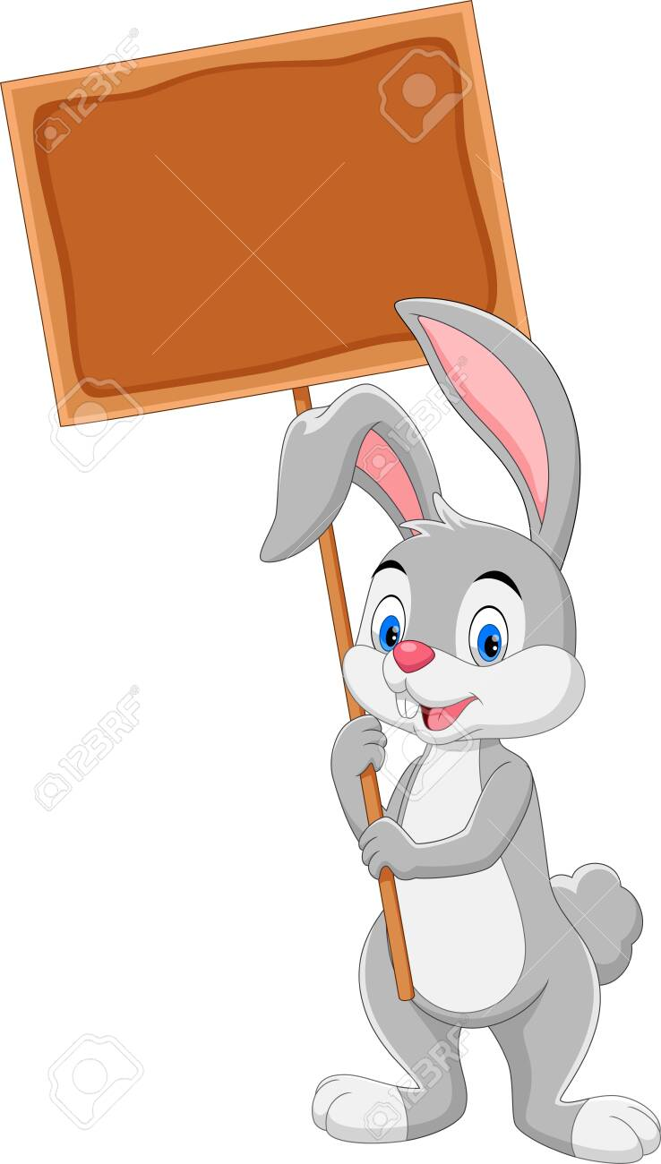 Vector illustration of Cute bunny holding wooden board isolated on white background - 123744308