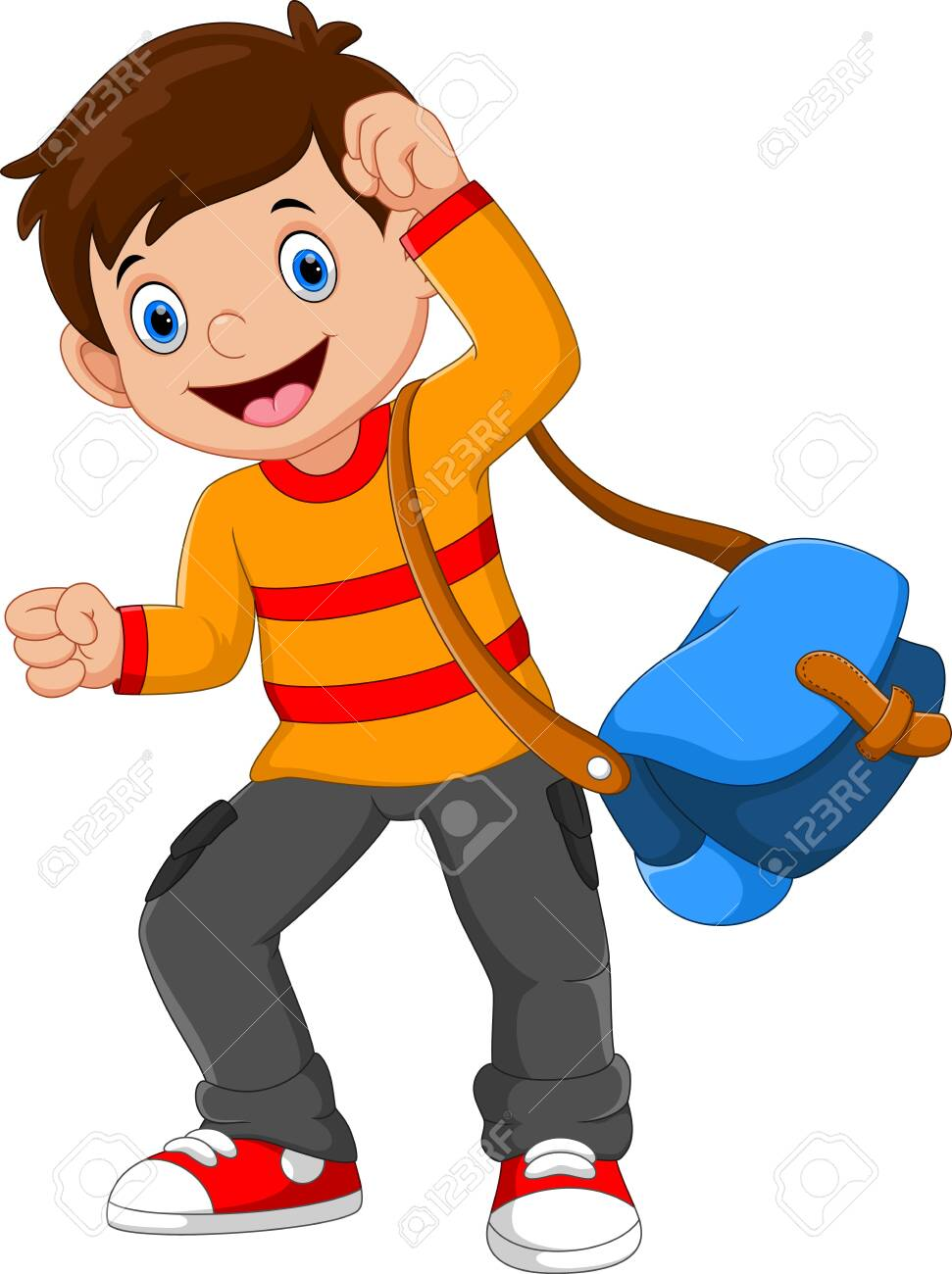Vector illustration of happy school boy isolated on white background - 133058552