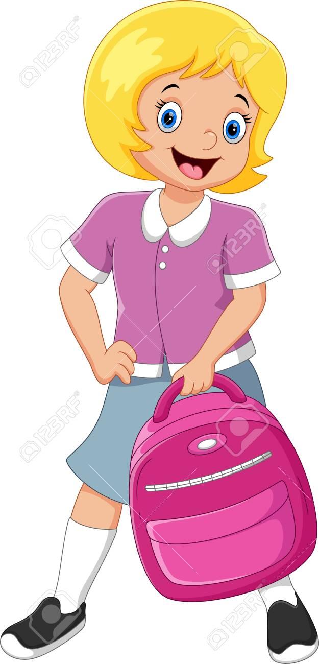 Happy school girl - 137129943