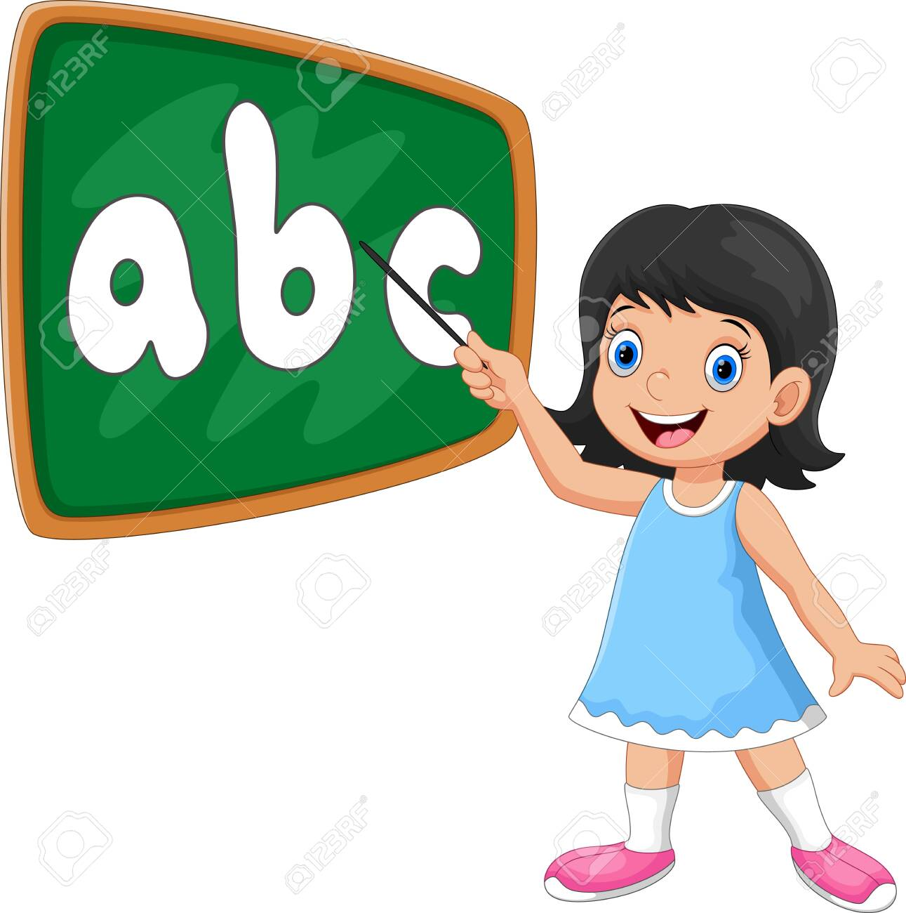 Vector illustration of a girl stands in front of the blackboard with a pointer - 133058821