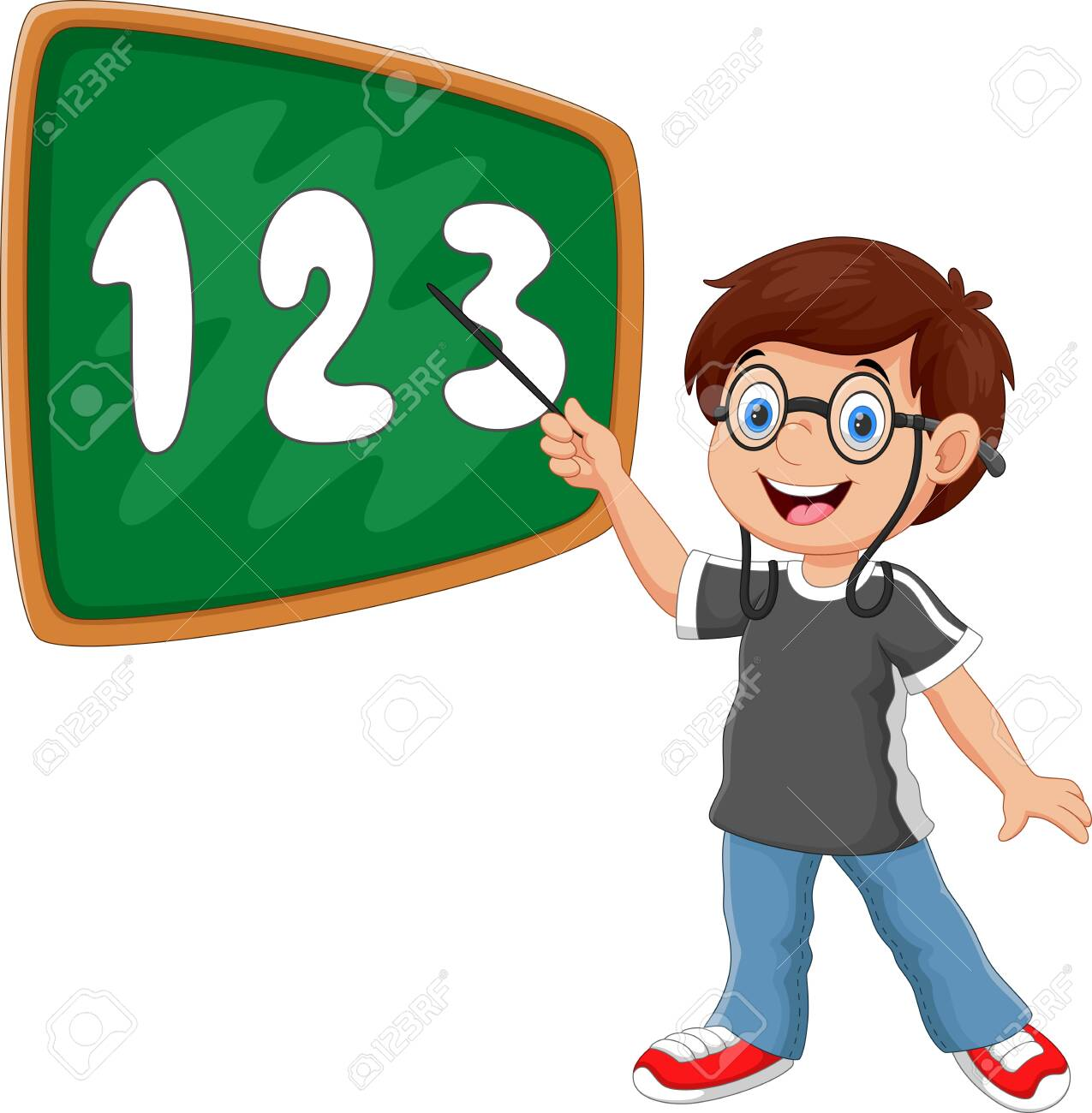Vector illustration of a boy stands in front of the blackboard with a pointer - 133058603