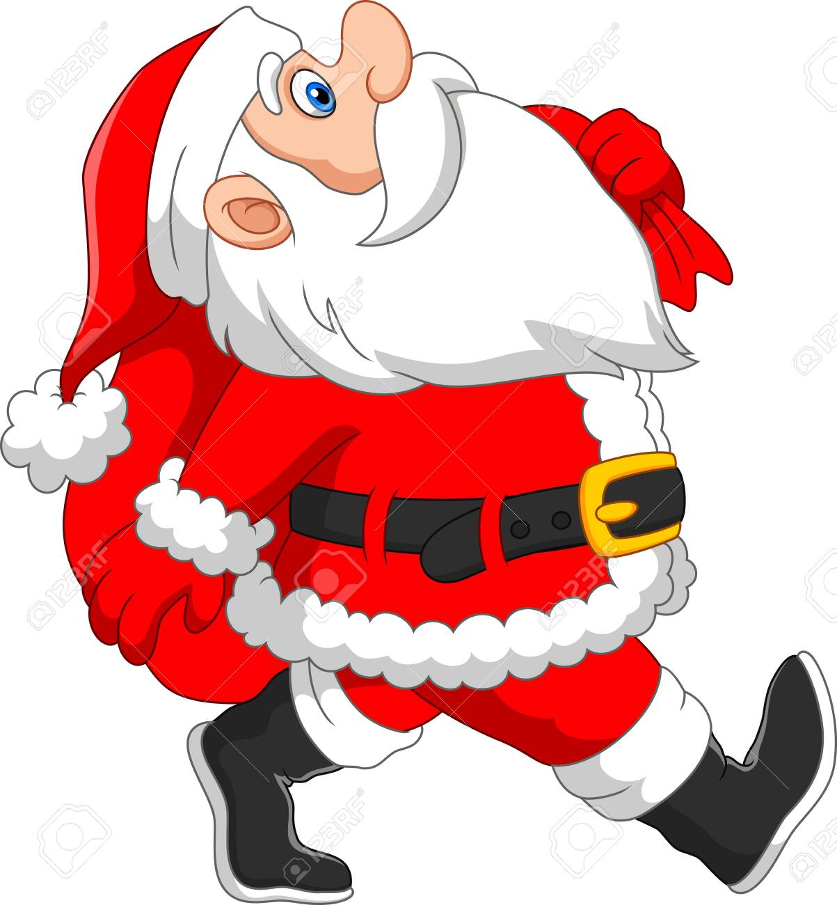 Santa walks with a sack of gifts - 135376958
