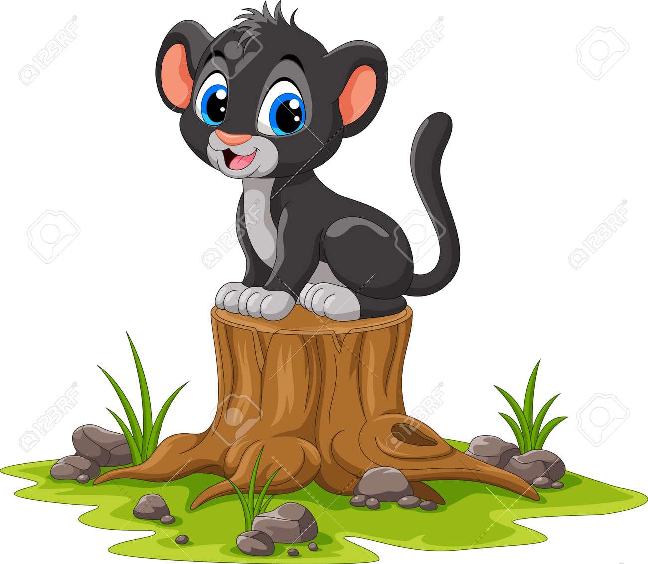Cartoon happy panther sitting on tree stump - 165285552