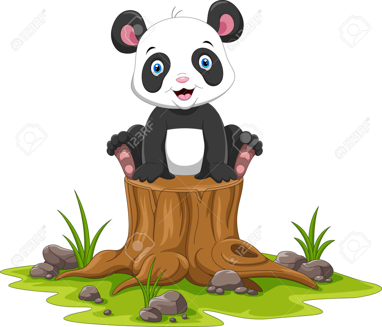 Cartoon happy panda sitting on tree stump - 165285554