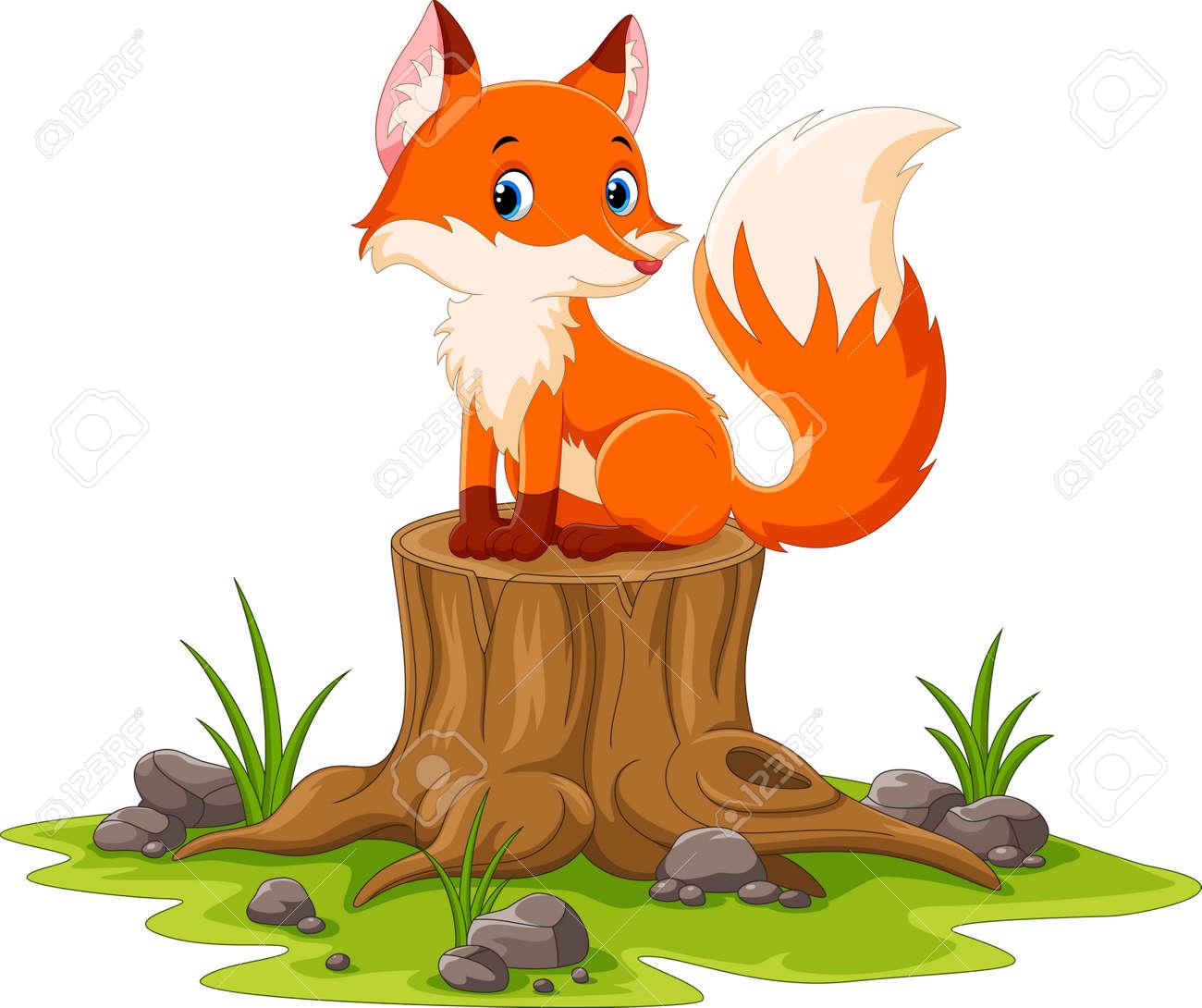Cartoon happy fox sitting on tree stump - 165272328