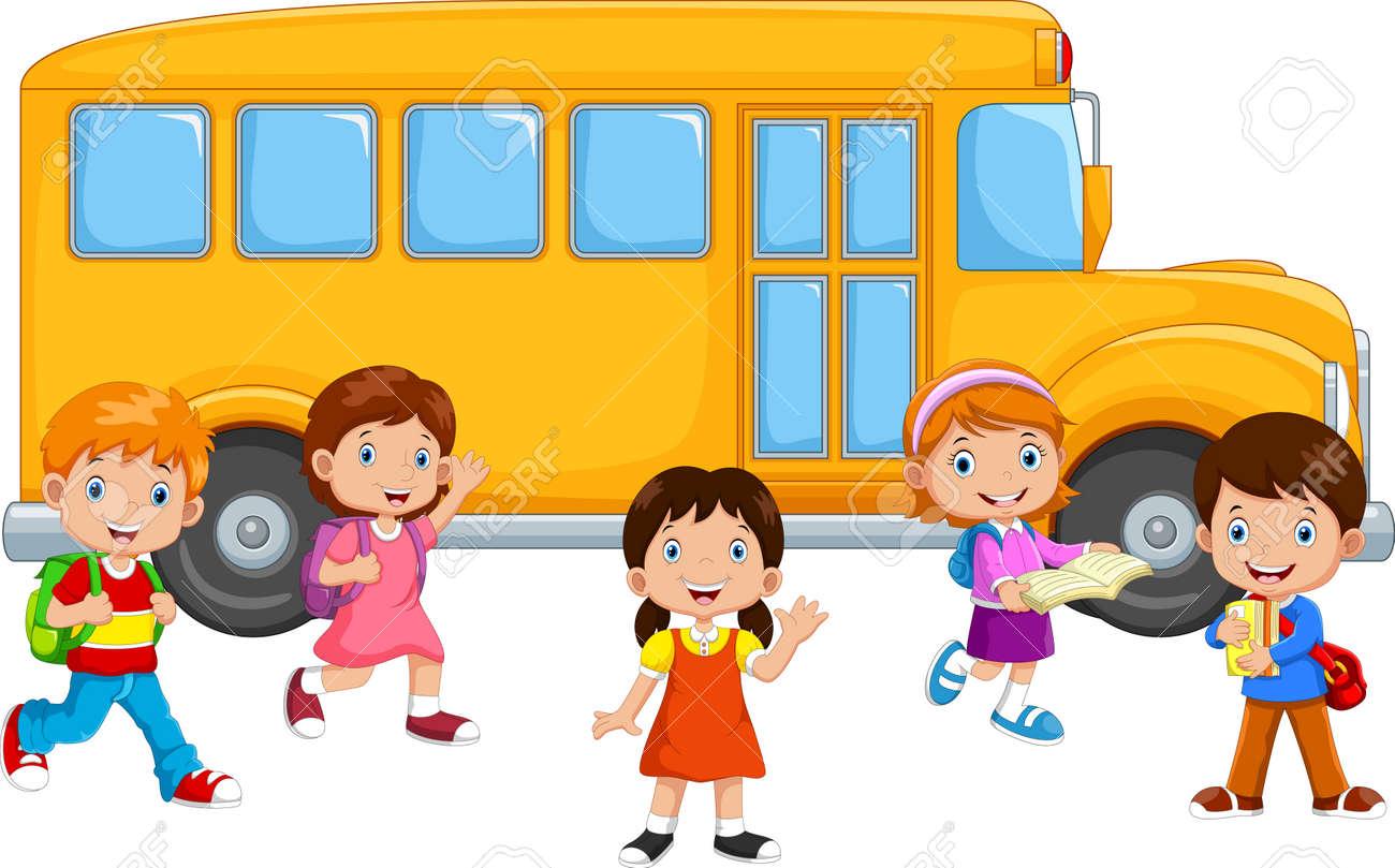 Happy Children And School Bus - 165285567