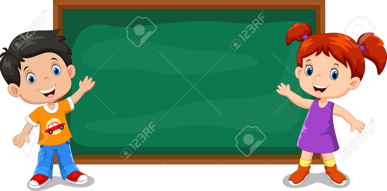 Little kids at the blackboard in the classroom - 165285583