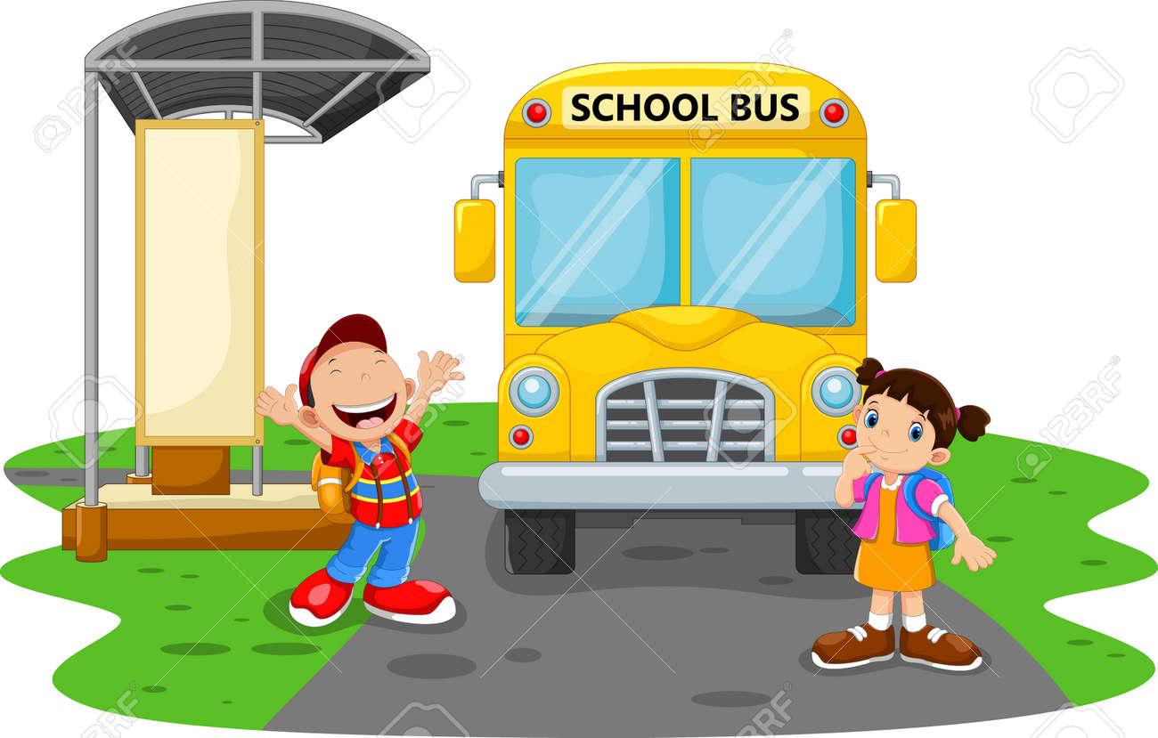 Happy Children And School Bus - 165285590
