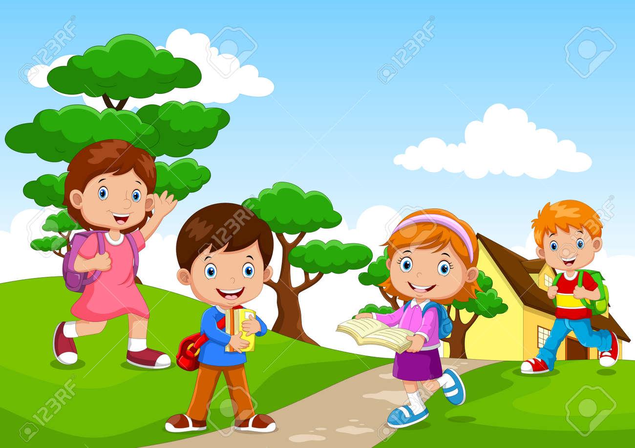 Cartoon of a children going to school - 165285591