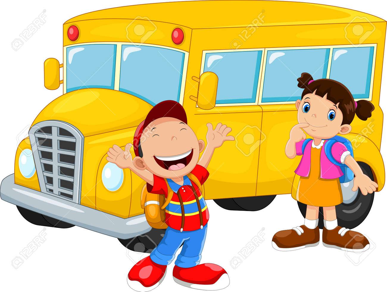 Happy Children And School Bus - 165285595