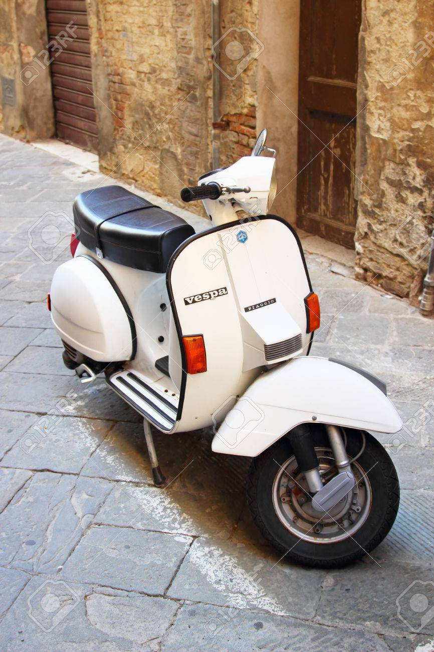SIENA, ITALY - AUGUST 07, 2015: Vintage Vespa old motorbike in