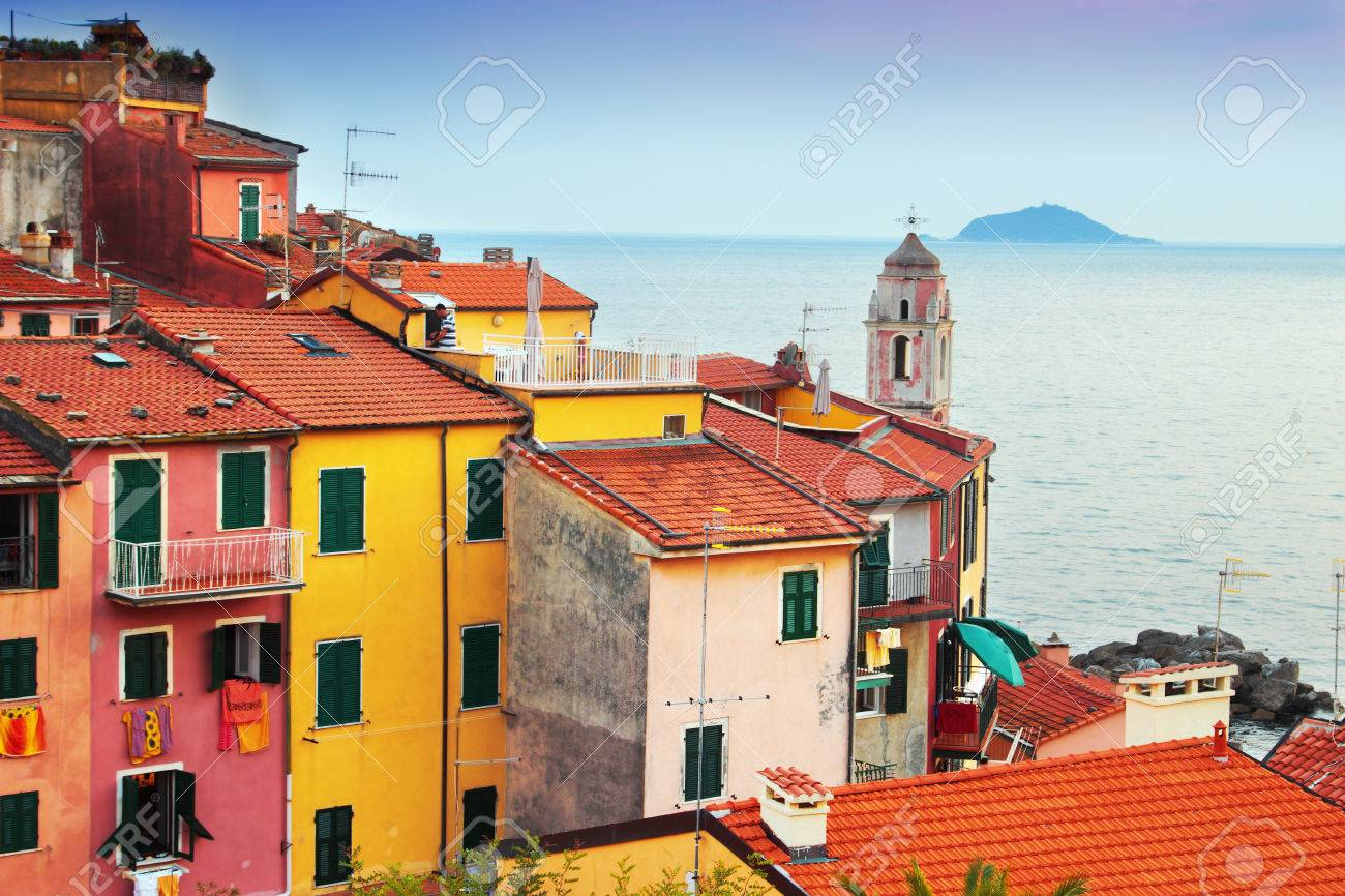 View Of Many Cozy Colorful Houses In Tellaro Village Ligurian