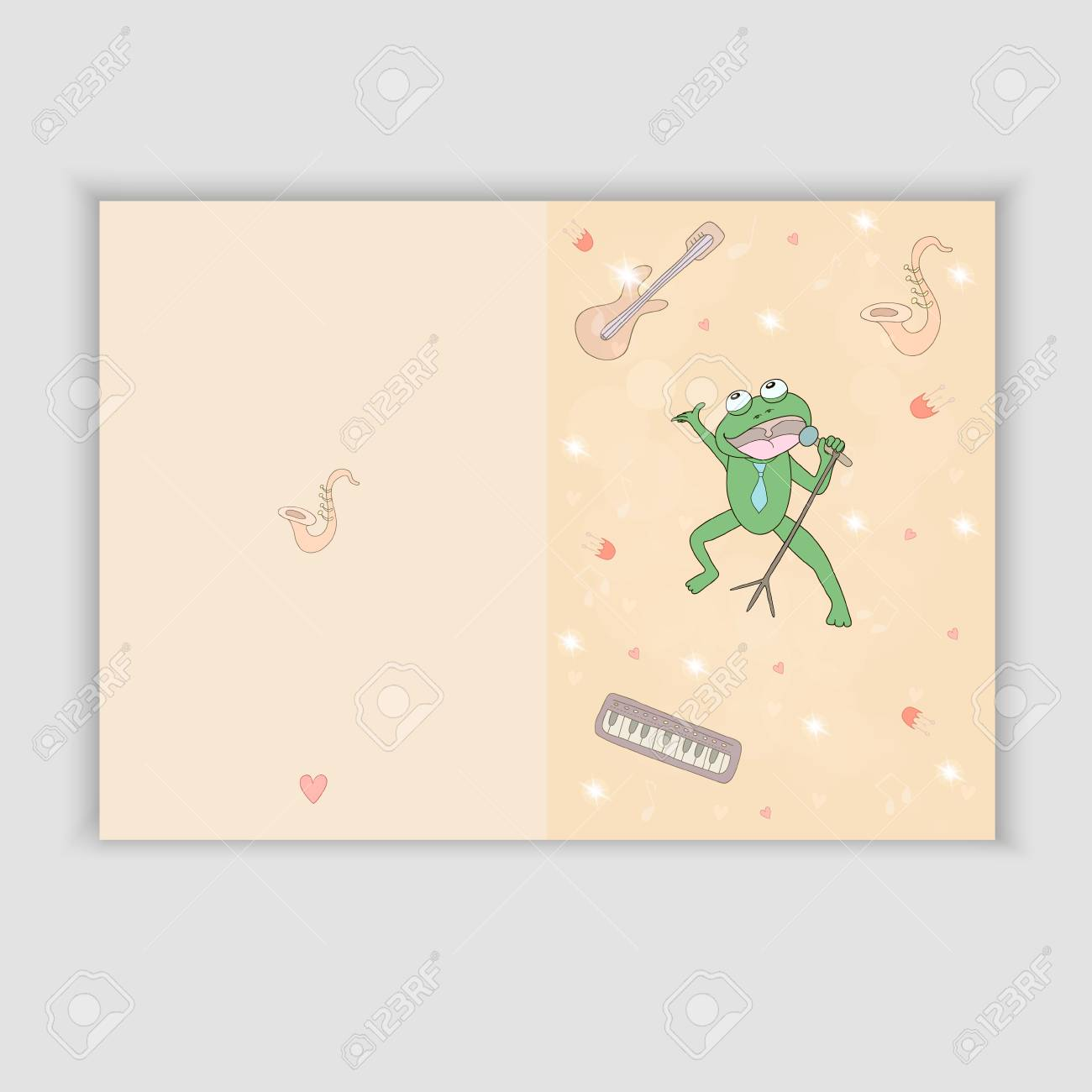 Hand Drawn Greeting Card With Musical Instruments And A Singing