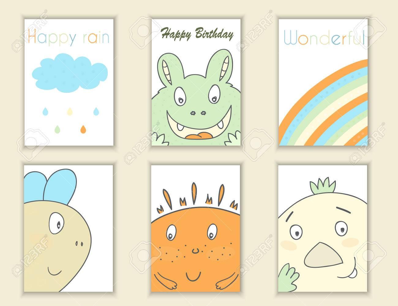 Dibujados Mano Linda Del Cumpleaños Del, Partido, Tarjetas De Baby ...
