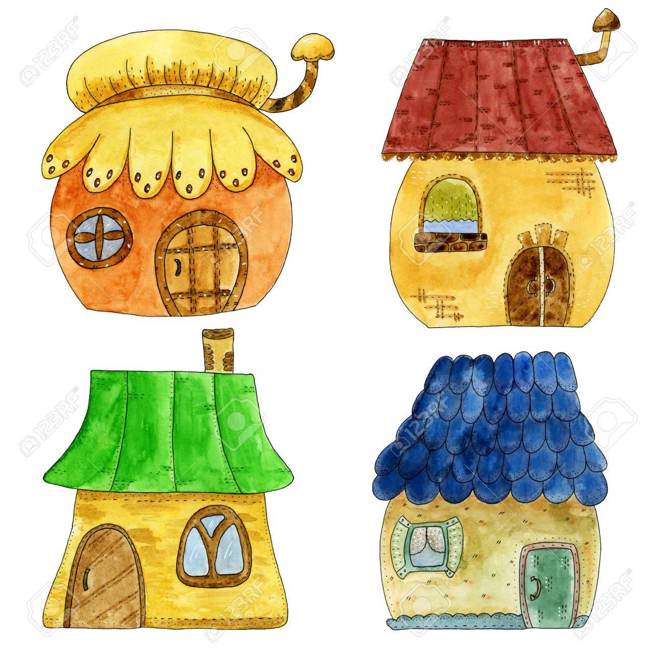 おとぎ話の漫画のスタイルでカラフルなかわいい家水彩の手描きイラスト